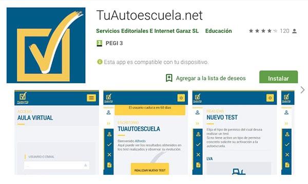 app de la página de test tuautoescuela.net