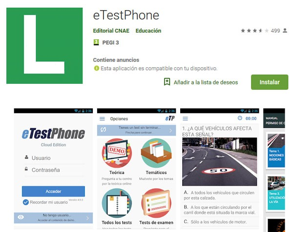 aplicación para dispositivos ios y android de página web etestweb