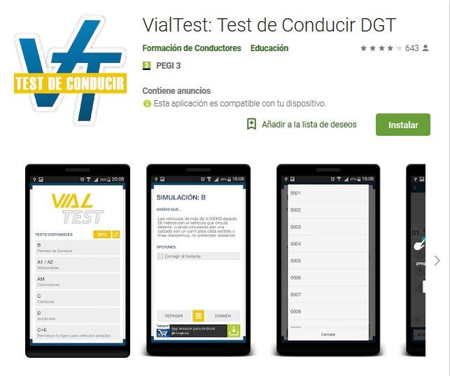 app de la página web vialtest con test actualizados de la dgt