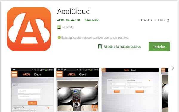aplicación de AEOLcloud para dispositivos Android