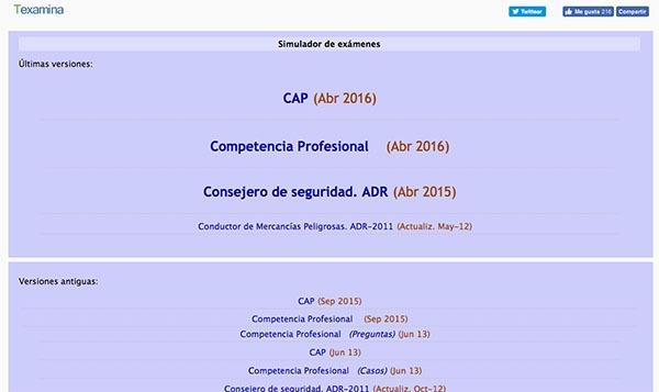 simulador de exámenes en la página web texamina