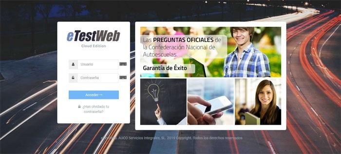 página web de eTestWeb para hacer test