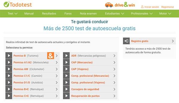 test de los permisos de conducir en la página web de todotest