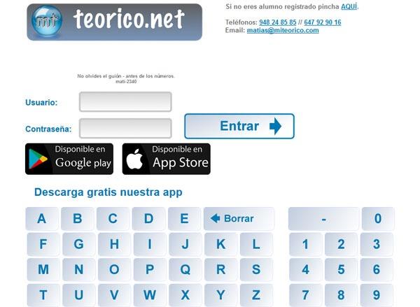 acceso alumnos en la plataforma de teorico.net
